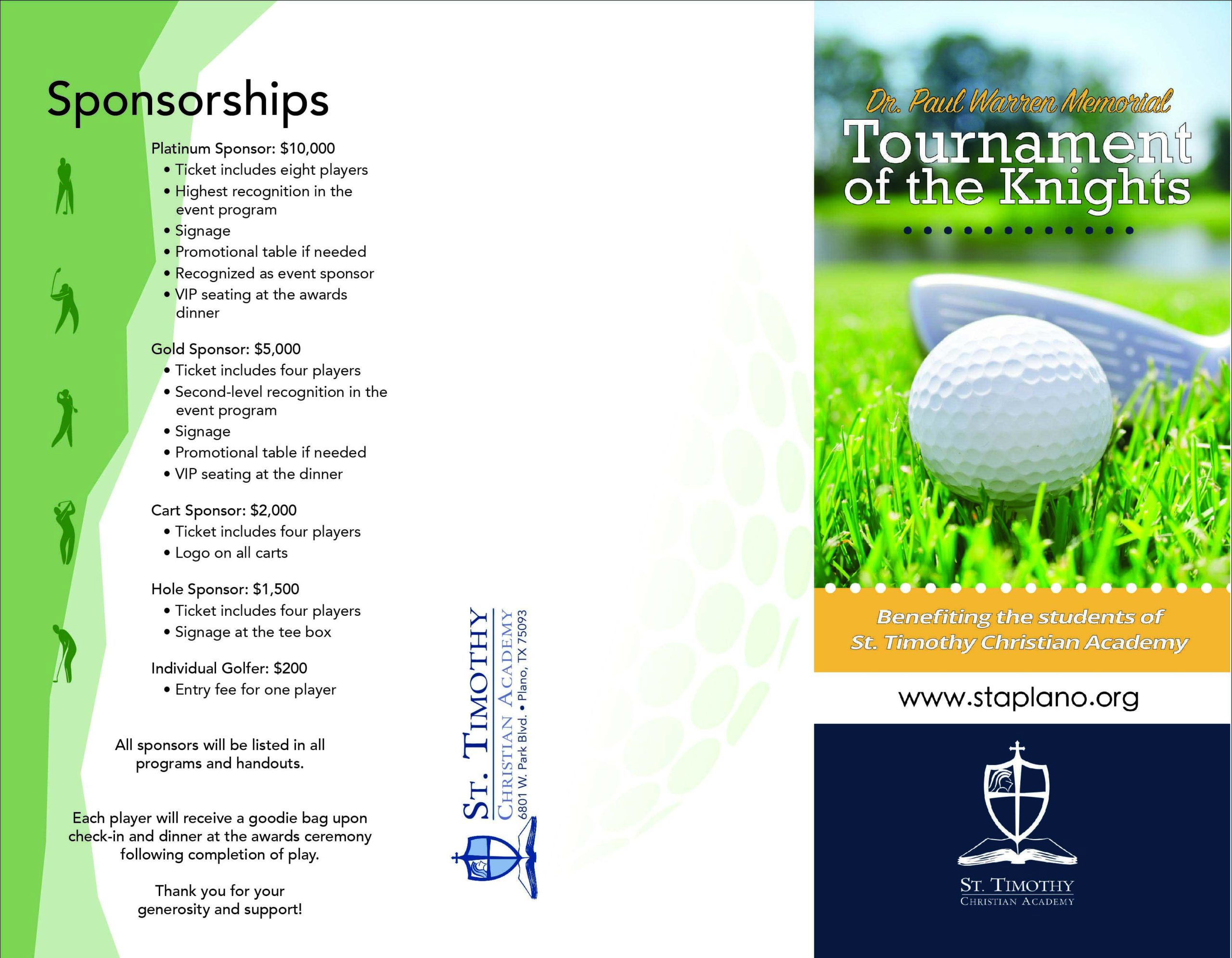 Golf tournament brochure page one image